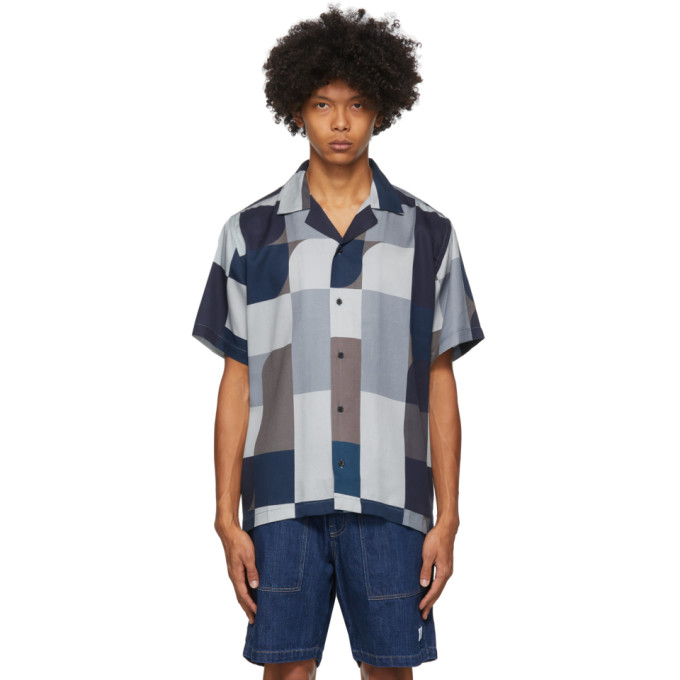 Saturdays Surf Nyc SATURDAYS NYC INDIGO AND BROWN GEOBLOCK CANTY SHIRT