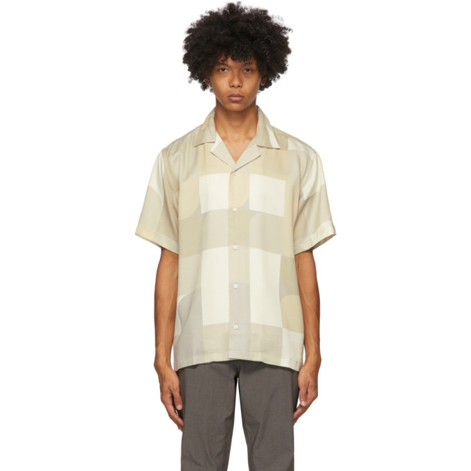 Saturdays Surf Nyc SATURDAYS NYC BEIGE AND OFF-WHITE GEOBLOCK CANTY SHIRT