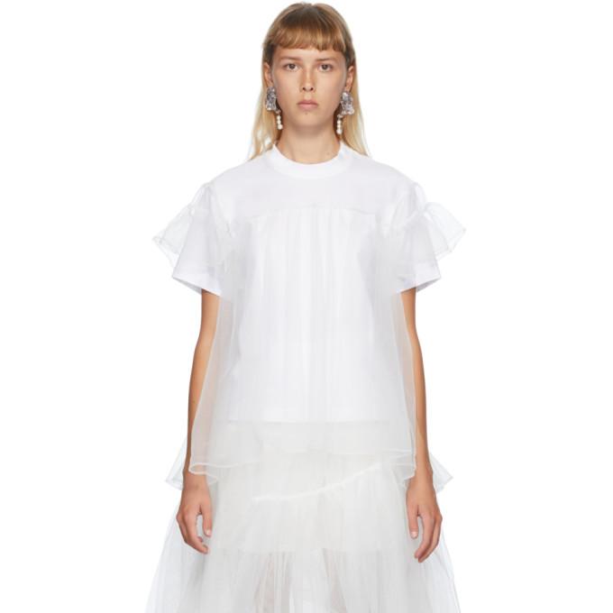 Shushu/Tong T-shirt a empiecement superpose en tulle blanc exclusif a SSENSE