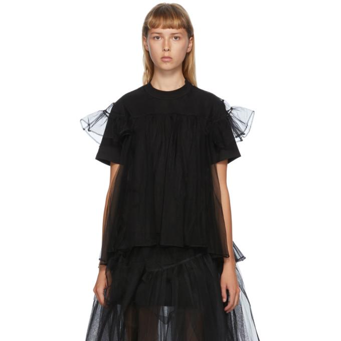 Shushu/Tong T-shirt a empiecement superpose en tulle noir exclusif a SSENSE