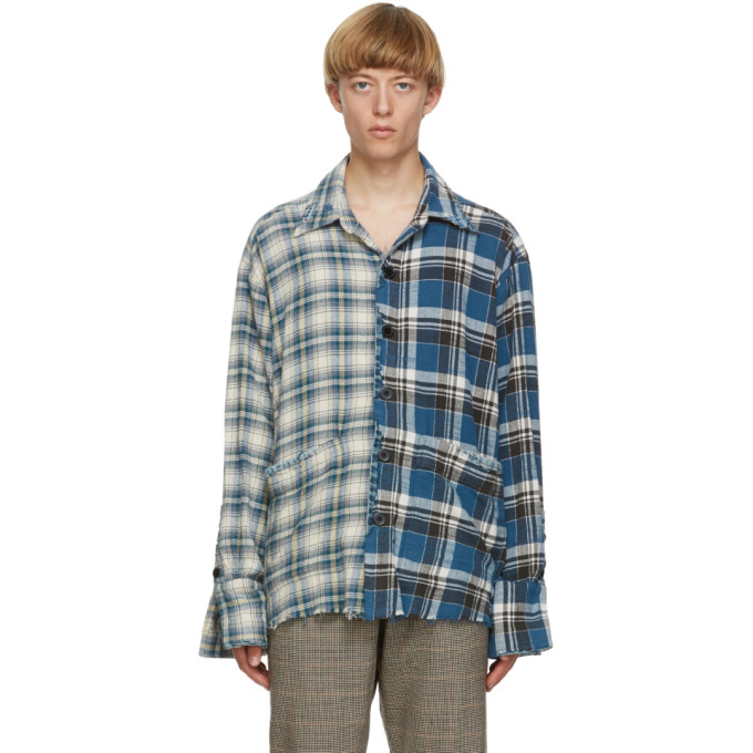 Greg Lauren GREG LAUREN BLUE DENIM EDGED BOXY STUDIO SHIRT
