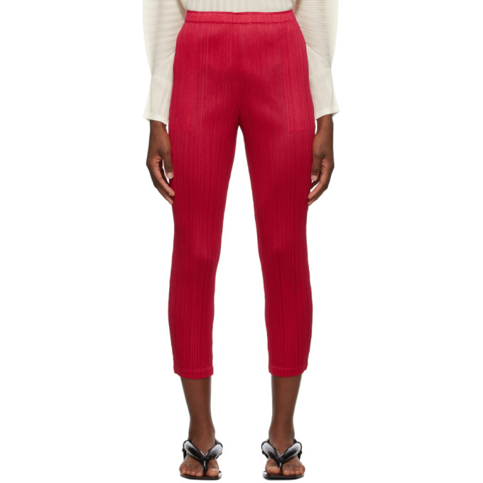 Pleats Please Issey Miyake Pink Monthly Colors September Trousers In 25 Magenta