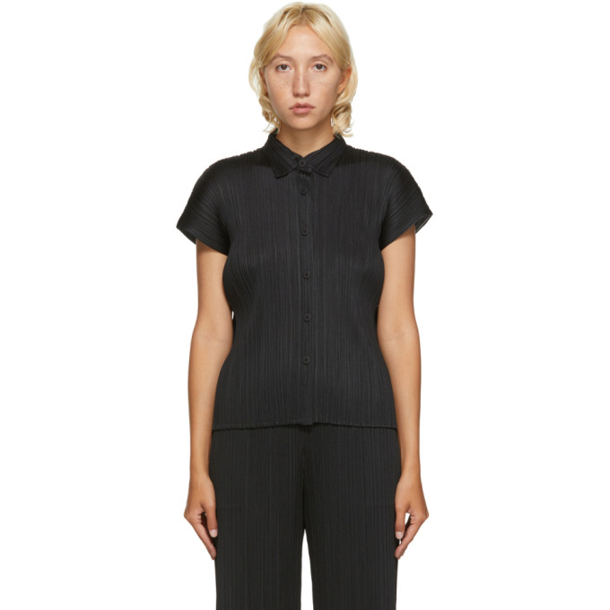 Pleats Please Issey Miyake Chemise a manches courtes noire