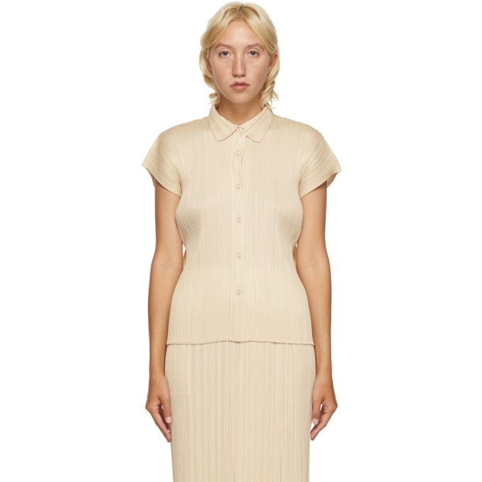 Pleats Please Issey Miyake Chemise a manches courtes plissee beige