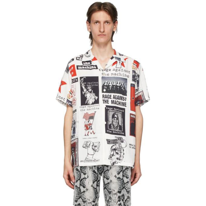 WACKO MARIA Chemise hawaienne blanche et multicolore edition Rage Against The Machine