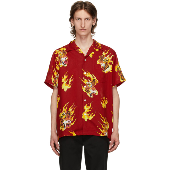WACKO MARIA Chemise hawaienne a manches courtes rouge Tim Lehi