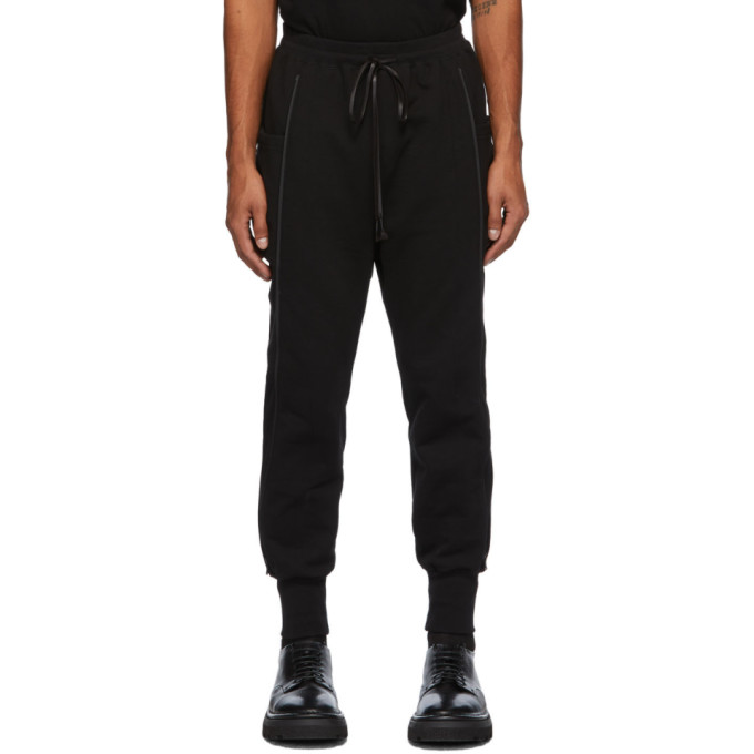 The Viridi-anne ブラック フリース サイド ポケット ラウンジ パンツ
