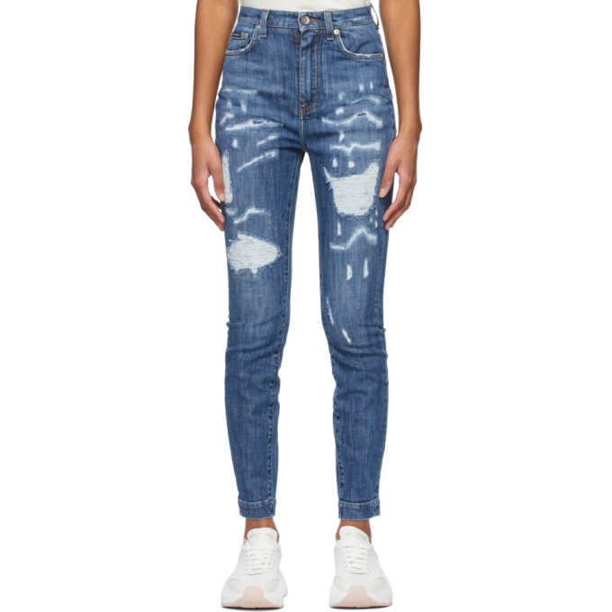 Dolce & Gabbana Cottons DOLCE AND GABBANA BLUE SKINNY JEANS