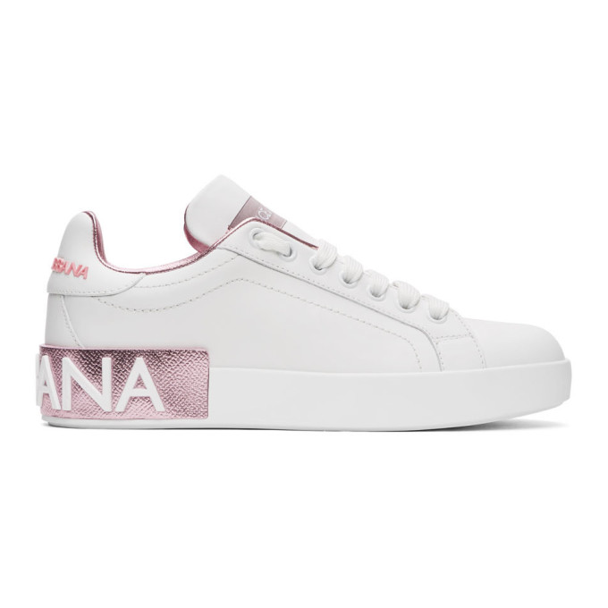 Dolce & Gabbana Dolce And Gabbana White And Pink Portofino Sneakers In 87587 Pink