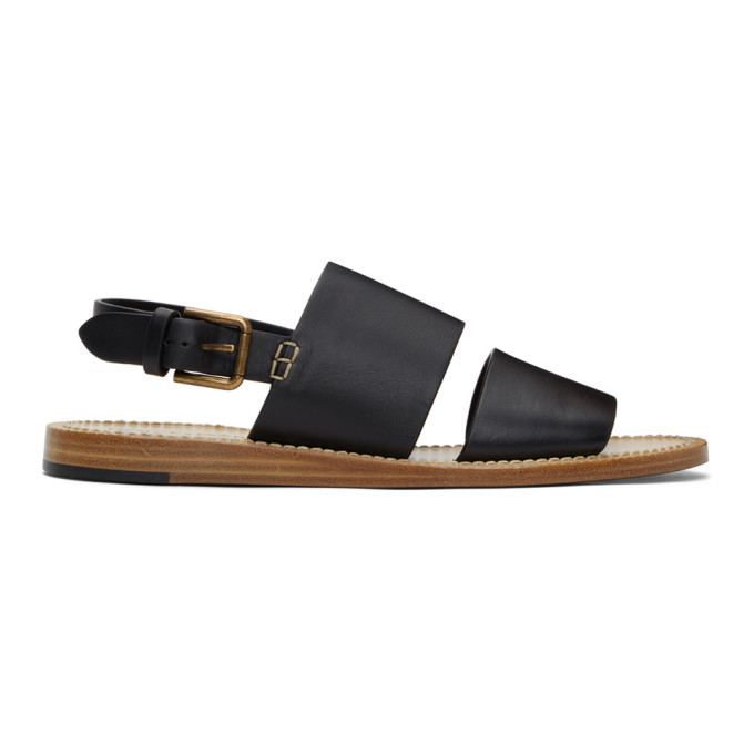 Dolce & Gabbana Leathers DOLCE AND GABBANA BLACK PANTHEON SANDALS