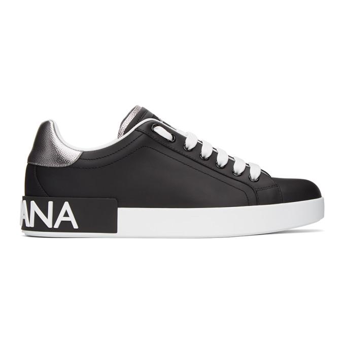 Dolce & Gabbana Black & White Portofino Sneakers In Black/silver