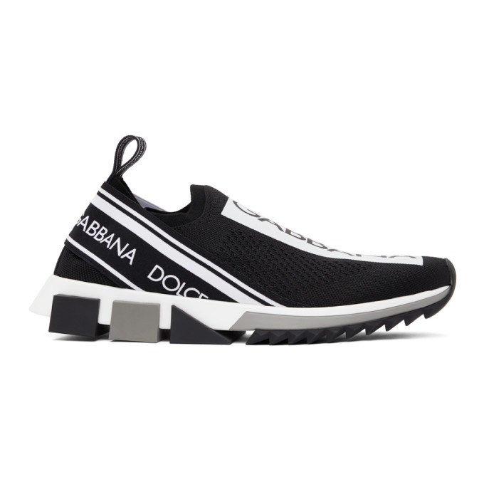 Dolce & Gabbana Dolce And Gabbana Black And White Sorrento Slip-on Sneakers