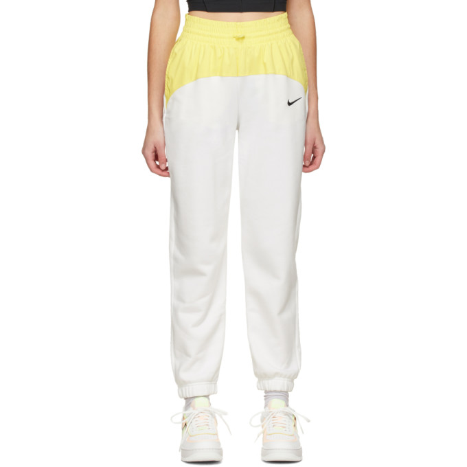 Nike NIKE WHITE AND YELLOW SPORTSWEAR ICON CLASH LOUNGE PANTS