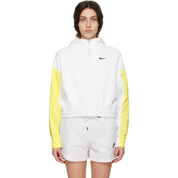 Nike Hoodies NIKE WHITE AND YELLOW SPORTSWEAR ICON CLASH HALF-ZIP HOODIE