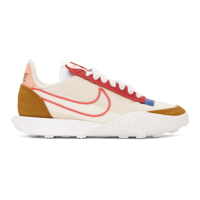 Nike NIKE BEIGE AND RED WAFFLE RACER 2X SNEAKERS