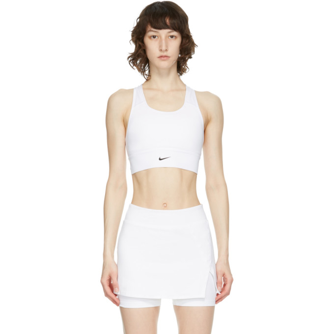 Nike NIKE WHITE SWOOSH LONG LINE SPORTS BRA