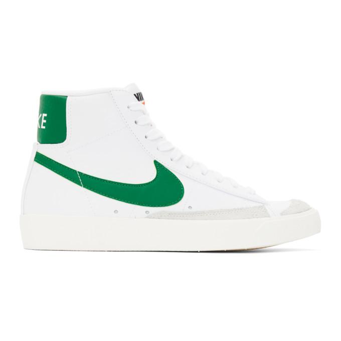 Nike NIKE WHITE AND GREEN BLAZER MID 77 VINTAGE SNEAKERS