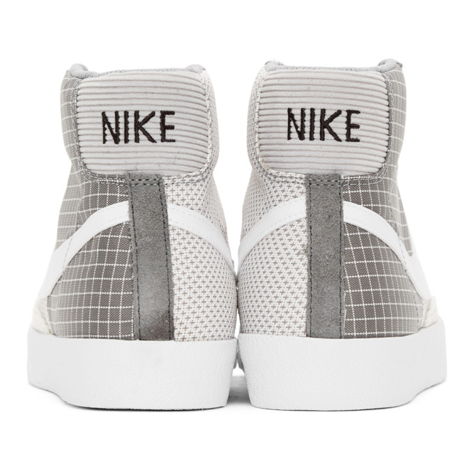 NIKE Leathers NIKE GREY AND WHITE BLAZER MID 77 SNEAKERS