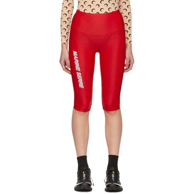 Marine Serre MARINE SERRE RED SEA-SKIN LOGO TRAINING SHORTS