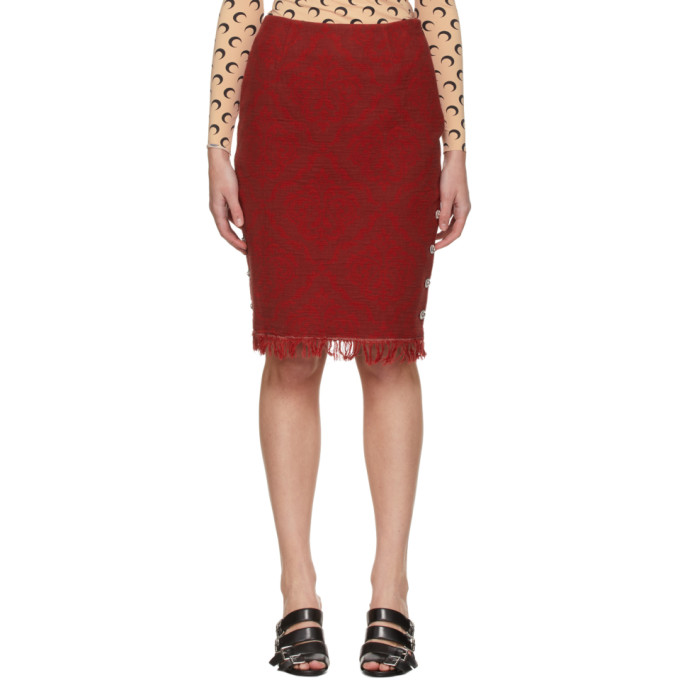 Marine Serre MARINE SERRE RED MOON SATURATION REGENERATED CARPET SKIRT
