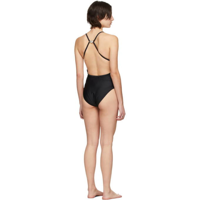MARINE SERRE Beachwears MARINE SERRE BLACK CROSS OVER BACK LOGO ONE-PIECE SWIMSUIT
