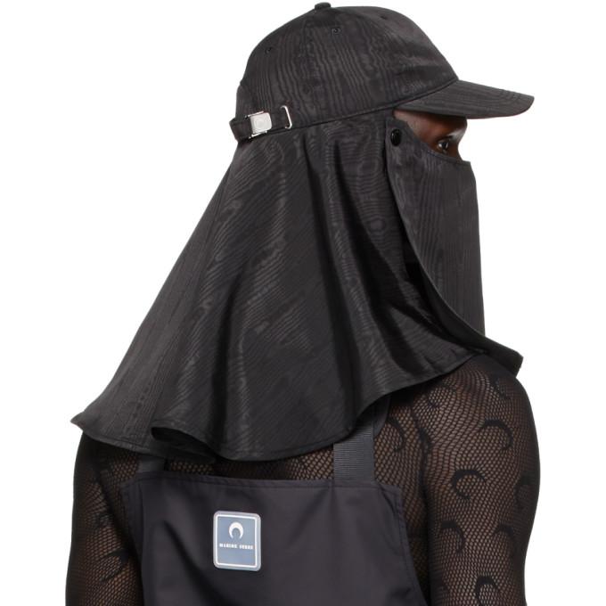 MARINE SERRE Caps MARINE SERRE BLACK SHORT DUNE CAP
