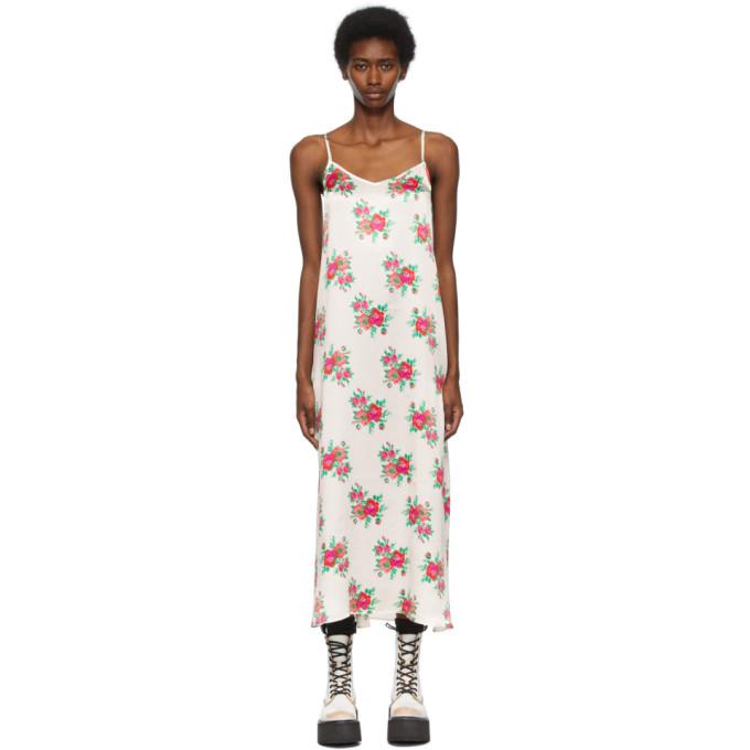 R13 R13 OFF-WHITE SILK ROSE SLIP DRESS