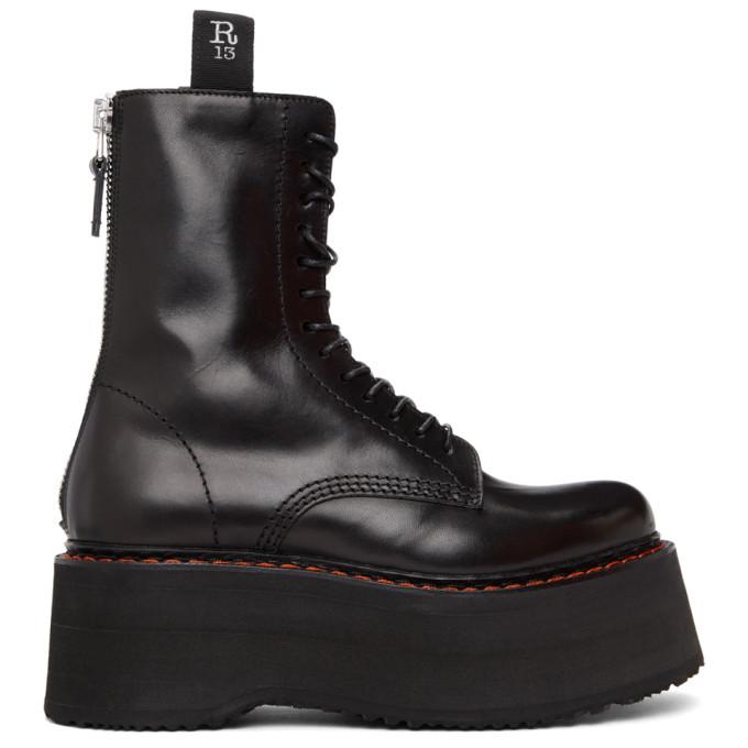 R13 黑色 Double Stacked 中筒靴