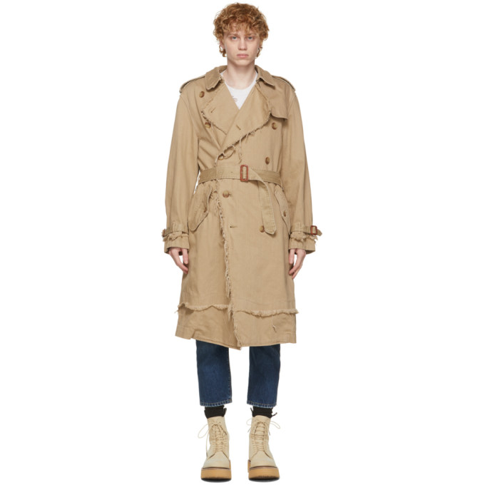 R13 R13 BEIGE SHREDDED TRENCH COAT
