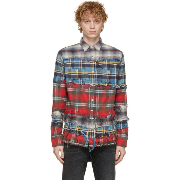 R13 R13 BLUE PLAID PIECED SHIRT