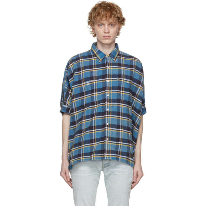 R13 R13 BLUE PLAID OVERSIZED BOXY SHORT SLEEVE SHIRT