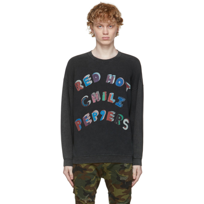 R13 R13 BLACK RHCP OVERSIZED FLEA ART SWEATSHIRT