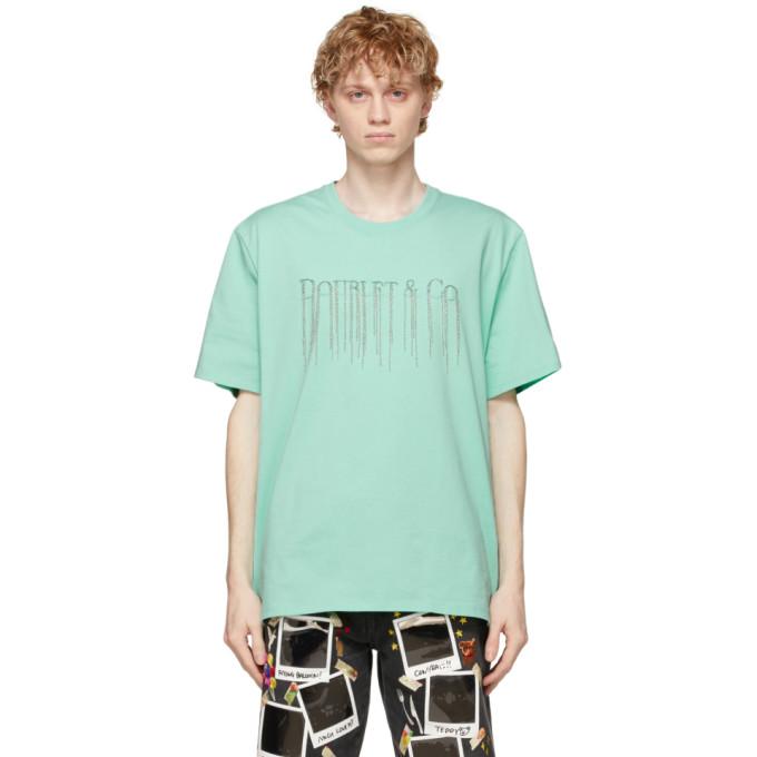 Doublet Chain Fringe Slogan T-shirt In Emerald
