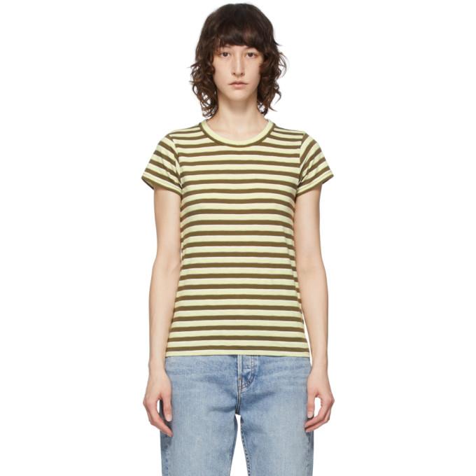 Rag & Bone T-shirts RAG AND BONE GREEN STRIPED THE SLUB T-SHIRT