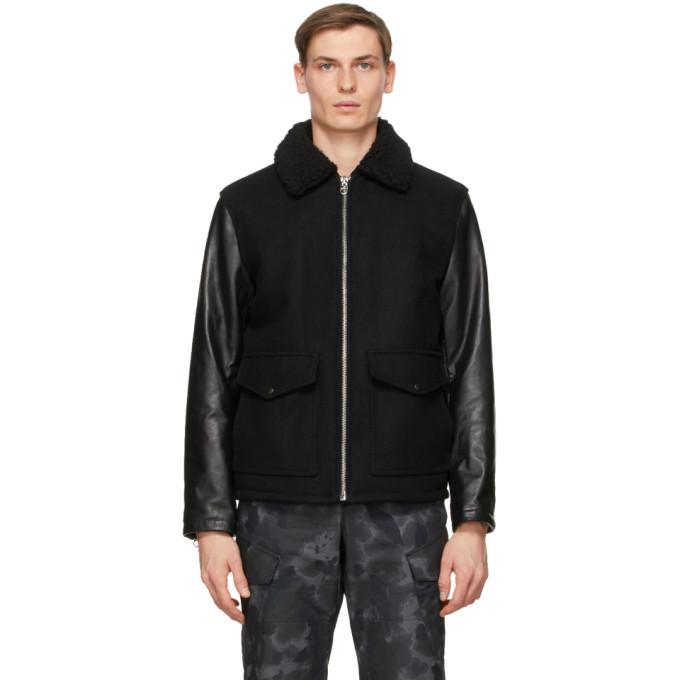 rag and bone rag and bone Black Schott NYC Edition Leather Deck Jacket