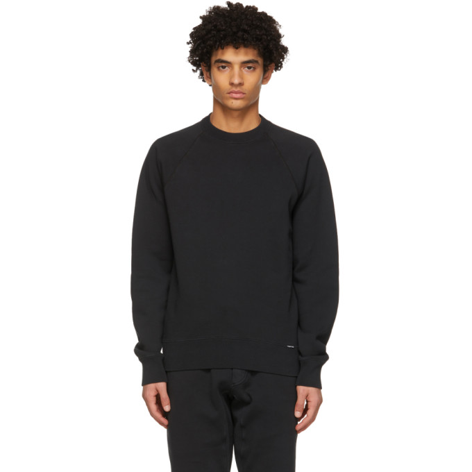 Tom Ford TOM FORD BLACK GARMENT-DYED SWEATSHIRT
