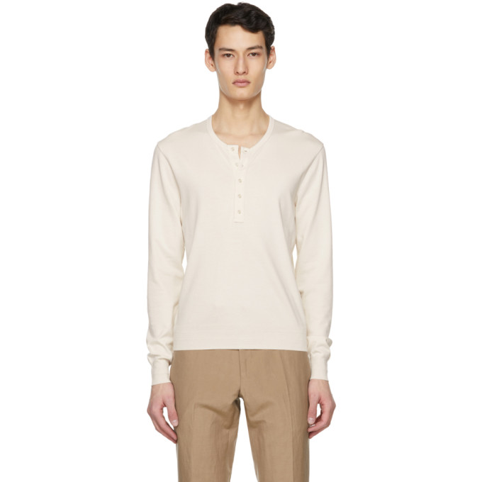 Tom Ford TOM FORD OFF-WHITE MARL JERSEY HENLEY