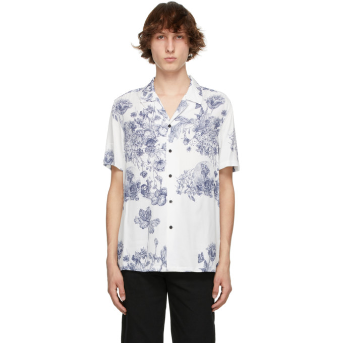 Ksubi Shirts KSUBI WHITE AND BLUE MASTER RESORT SHORT SLEEVE SHIRT