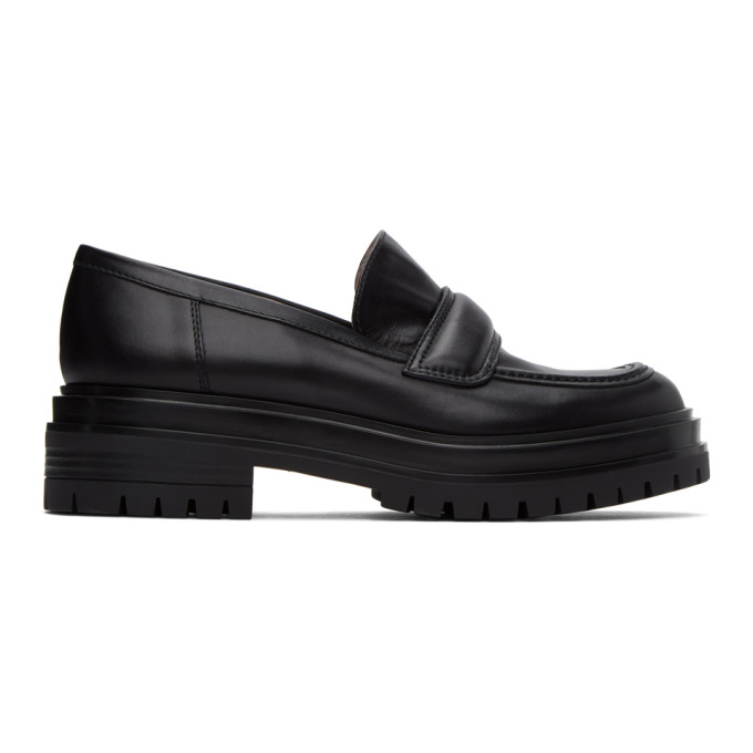 Gianvito Rossi Platform Calfskin Leather Loafers In Black