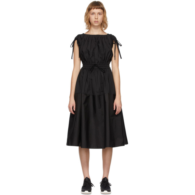Moncler MONCLER BLACK POPLIN DRAWSTRING DRESS
