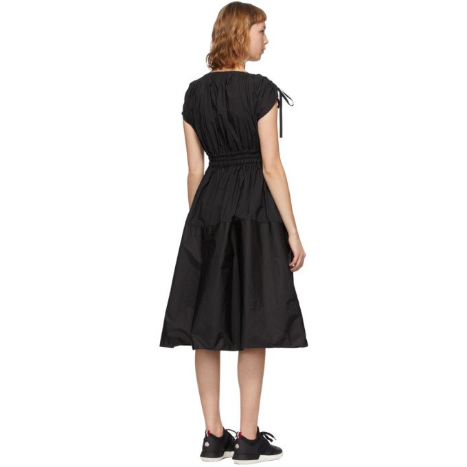 MONCLER Cottons MONCLER BLACK POPLIN DRAWSTRING DRESS