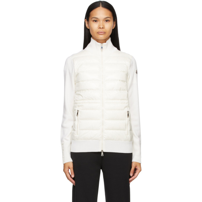 Moncler Moncler White Down Panelled Zip-Up Jacket