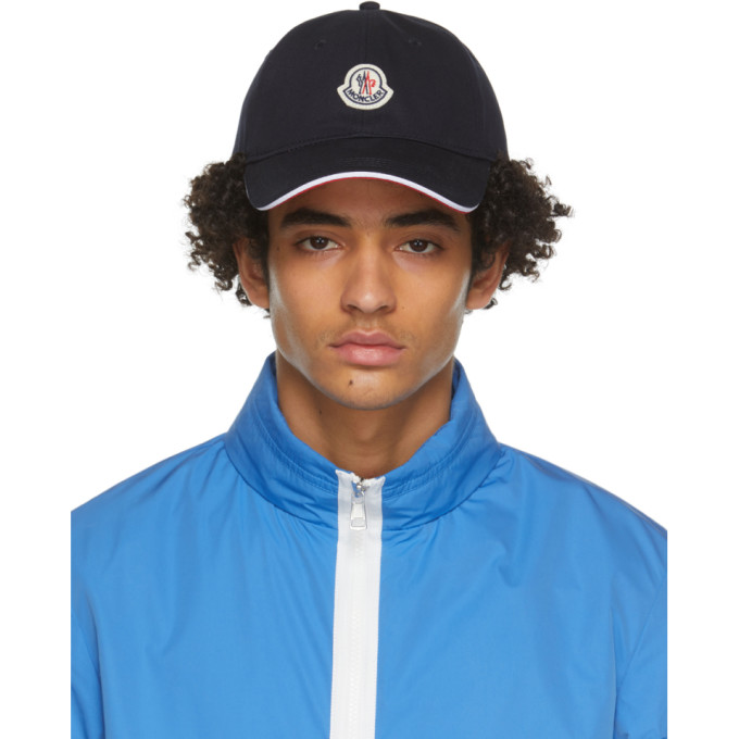 Moncler MONCLER NAVY AND RED TRICOLOR STRAP BASEBALL CAP