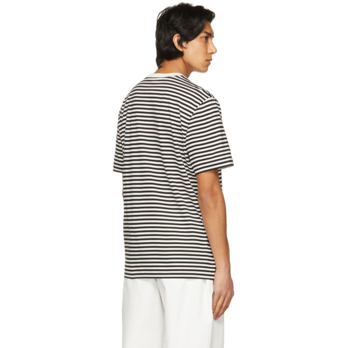 MONCLER Cottons MONCLER WHITE AND BLACK STRIPED T-SHIRT