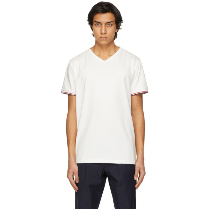Moncler MONCLER WHITE STRIPED CUFFS V-NECK T-SHIRT