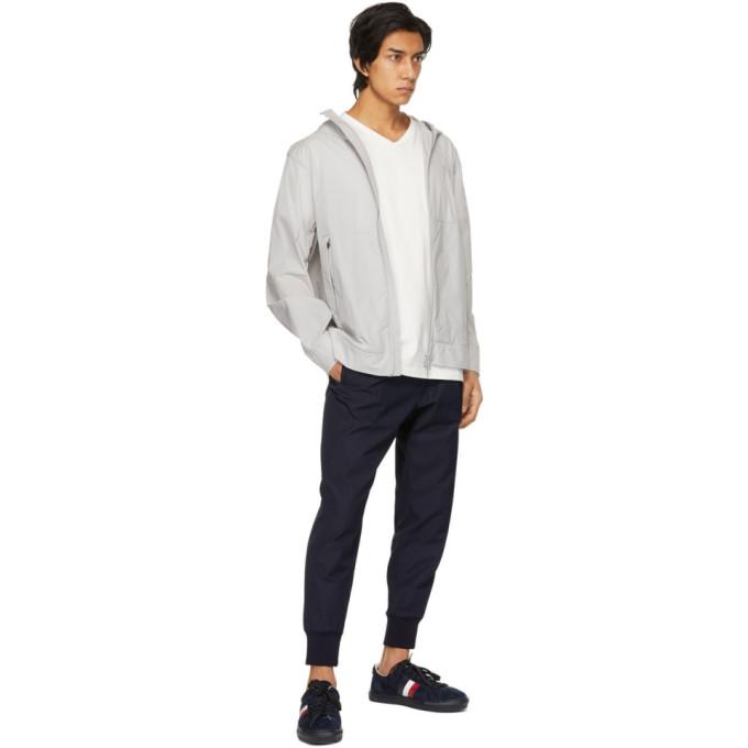 MONCLER Cottons MONCLER WHITE STRIPED CUFFS V-NECK T-SHIRT