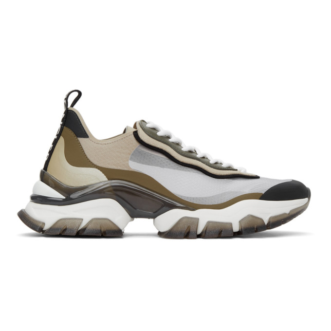 Moncler MONCLER BEIGE AND KHAKI LEAVE NO TRACE LIGHT SNEAKERS