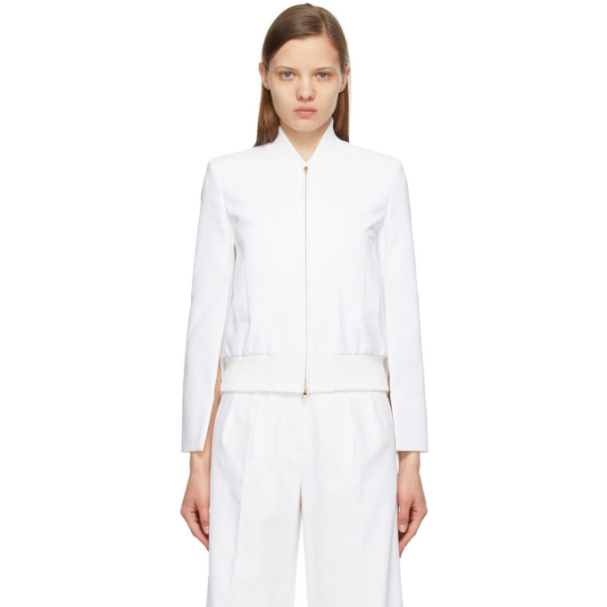Max Mara Zampata Stretch Cotton Bomber Jacket In 002 White