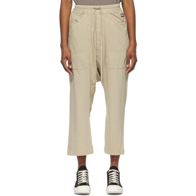 Rick Owens Drkshdw Beige Cropped Long Drawstring Lounge Pants  - buy with discount
