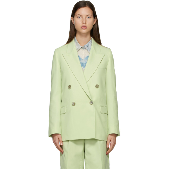 Acne Studios ACNE STUDIOS GREEN WOOL DOUBLE-BREASTED SUIT BLAZER
